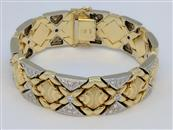 Gold-Diamond Wide Bracelet 2.00 Carat T.W. 14K 2 Tone Gold